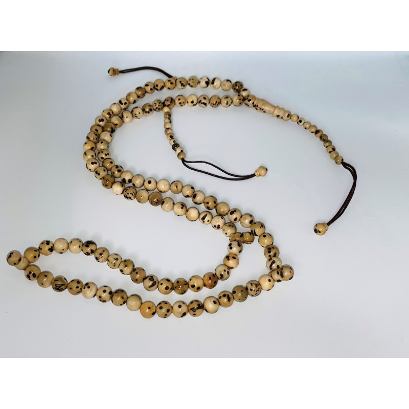 Chapelet / Tasbih original en bois clair, aspect vieilli 99 perles