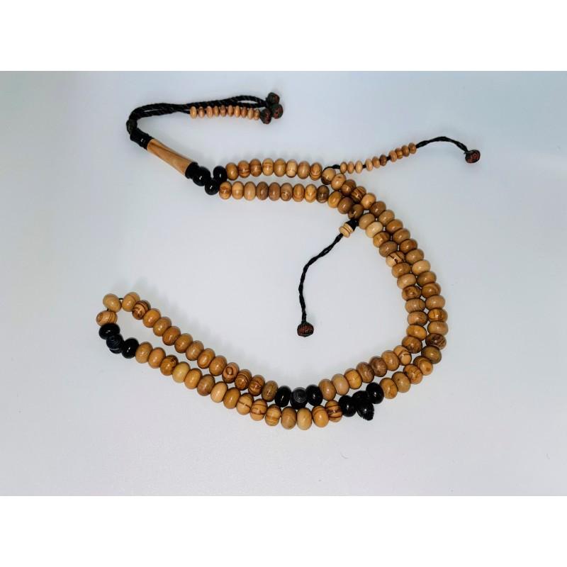 Chapelet / Tasbih en bois d'olivier 99 perles avec séparateurs foncés