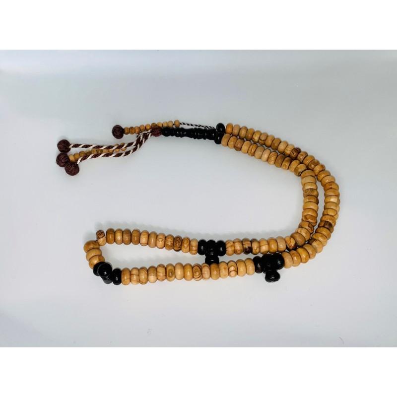 Chapelet / Tasbih en bois d'olivier 99 perles avec séparateurs foncés (petit format)